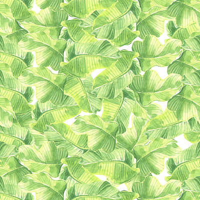 Royalty-Free and Rights-Managed Images - Seamless watercolor with exotic leaves by Julien