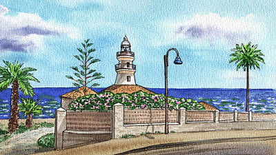 Rowing Royalty Free Images - Seascape With Lighthouse Faro De Cullera Valencia Spain Sea Shore Watercolor  Royalty-Free Image by Irina Sztukowski