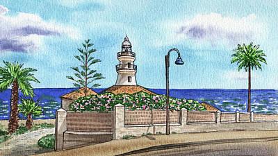 Aloha For Days - Seascape With Lighthouse Faro De Cullera Valencia Spain Sea Shore Watercolor  by Irina Sztukowski