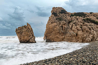 Wild Weather - Seascapes with windy waves. Rock of Aphrodite Paphos Cyprus by Michalakis Ppalis