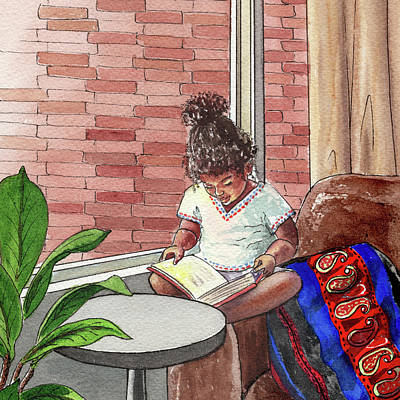 Comic Character Paintings - Seated Closer To The Light Black Girl Reading Book Watercolor  by Irina Sztukowski