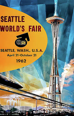 Drawings Royalty Free Images - Seattle 1962 Worlds Fair Poster Royalty-Free Image by Seattle