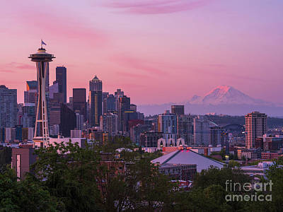 Water Droplets Sharon Johnstone - Seattle Dawn from Kerry Park by Mike Reid