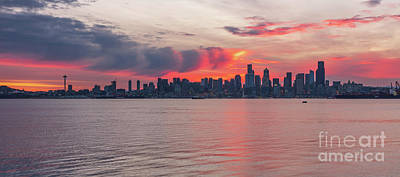 Royalty-Free and Rights-Managed Images - Seattle Fireball Sunrise from Alki by Mike Reid