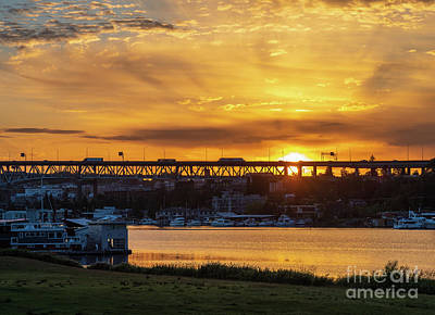 Kitchen Food And Drink Signs - Seattle Gasworks Park Sunrise by Mike Reid