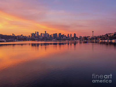 Royalty-Free and Rights-Managed Images - Seattle Golden Sunrise Symmetry by Mike Reid
