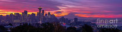 Royalty-Free and Rights-Managed Images - Seattle Photography From Kerry Park Burning Sunrise Skies by Mike Reid