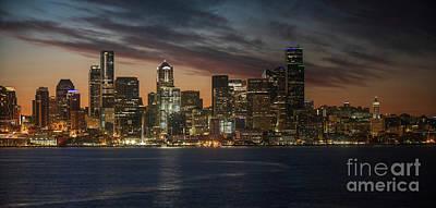 Popular Rustic Neutral Tones - Seattle Skyline First Light by Mike Reid
