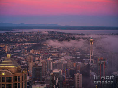 Door Locks And Handles - Seattle Skyline Sunrise Light from Above by Mike Reid