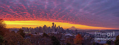 Royalty-Free and Rights-Managed Images - Seattle Soaring Skies Sunrise from Kerry Park by Mike Reid