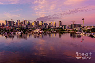Royalty-Free and Rights-Managed Images - Seattle South Lake Union Sunrise Reflection by Mike Reid
