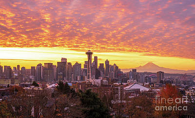 Royalty-Free and Rights-Managed Images - Seattle Sunrise Fiery Clouds from Kerry Park by Mike Reid