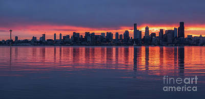 Colored Pencils - Seattle Sunrise From Alki Across Elliott Bay by Mike Reid