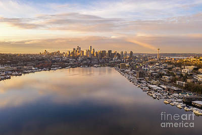 Pop Art Rights Managed Images - Seattle Sunrise Over Lake Union Royalty-Free Image by Mike Reid