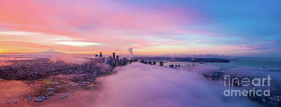 Royalty-Free and Rights-Managed Images - Seattle Sunrise Panorama on the Clouds by Mike Reid