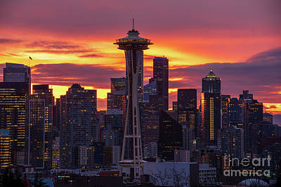 Travel - Seattle Sunrise Skies Dramatic by Mike Reid