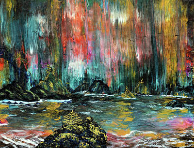 Painting - Secret Beach in the Rain by Laura Iverson