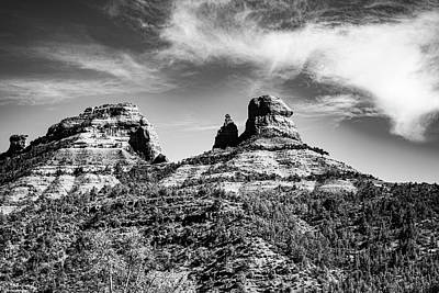 Landscapes Royalty-Free and Rights-Managed Images - Sedona Rocks in Black and White by Jeremy Rickman