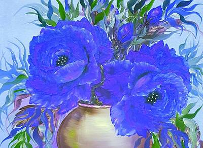 Target Threshold Watercolor - Seduction in roses blue glow mini  by Angela Whitehouse