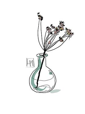 Black And White Ink Illustrations - Seed-heads In a Glass Jar by Luisa Millicent