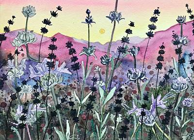 Painting Rights Managed Images - Seedheads at Sunset. Royalty-Free Image by Luisa Millicent