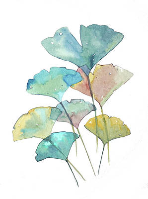 Lady Bug - Ginkgo Leafs in Watercolor by Luisa Millicent