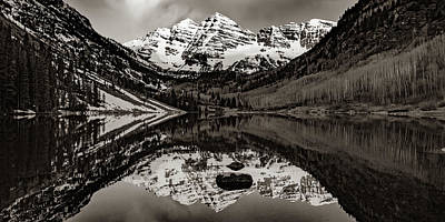 Landscapes Royalty-Free and Rights-Managed Images - Sepia Aspen Peaks of The Maroon Bells Mountain Landscape Panorama by Gregory Ballos