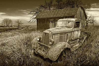 Comedian Drawings Rights Managed Images - Sepia Tone of  Rusted Vintage Truck with Weathered Barn Royalty-Free Image by Randall Nyhof