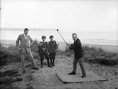 Sports Royalty-Free and Rights-Managed Images - September 18 1907 These gents are Mr Clampett and Mr Downes with their juvenile caddies at Tramore G by Artistic Rifki