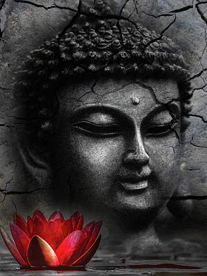 Surrealism Royalty Free Images - Serene Buddha Royalty-Free Image by Mihaela Pater