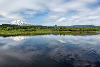 Clouds Rights Managed Images - Serenity at Mount Adams Royalty-Free Image by Belinda Greb