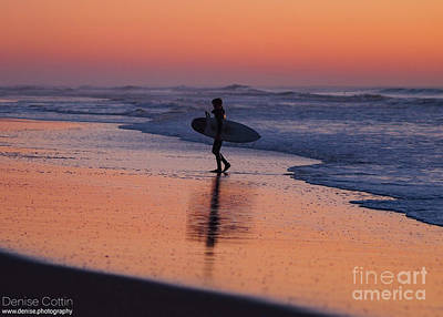 Pyrography - SF Sunset Surfer  by Denise Cottin