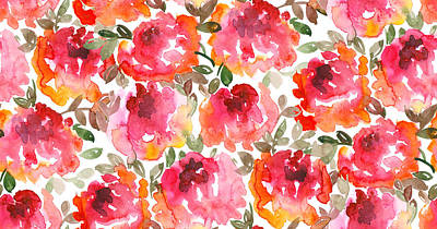 Royalty-Free and Rights-Managed Images - Shabby loose style red roses seamless pattern by Julien