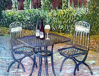 Target Threshold Watercolor - Shades of Van Gogh-wine table by Hailey E Herrera