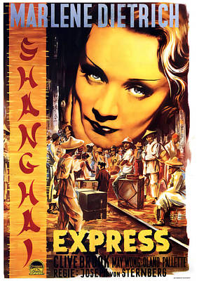 Typography Tees - Shanghai Express, with Marlene Dietrich, 1932 by Stars on Art