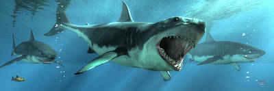 Animals Digital Art - Shark Attack by Daniel Eskridge