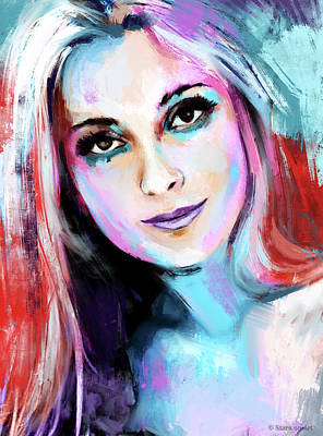 Modern Sophistication Line Drawings Royalty Free Images - Sharon Tate Royalty-Free Image by Stars on Art