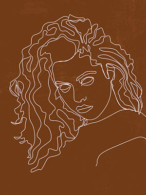 Royalty-Free and Rights-Managed Images - She is Fierce - Contemporary, Minimal Portrait 4 - Brown by Studio Grafiikka