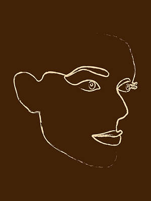 Royalty-Free and Rights-Managed Images - She is Fierce - Minimal Line Art Portrait - Single Stroke  by Studio Grafiikka