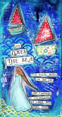 Mixed Media - She loves the sea by Stanka Vukelic