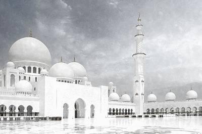 Train Paintings - Sheikh Zayed Grand Mosque BW - Abu Dhabi UAE by Stefano Senise