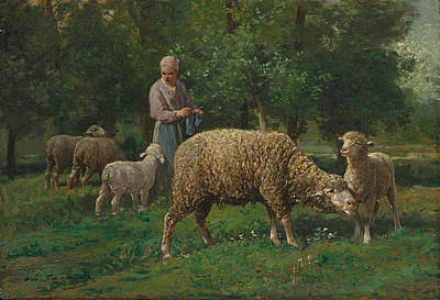 Painting - Shepherdess With Sheep by Charles-Emile Jacque