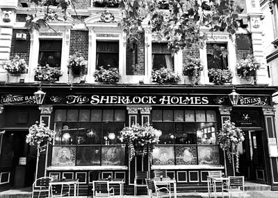 Wild Horse Paintings - Sherlock Holmes Pub BW by Mary Pille