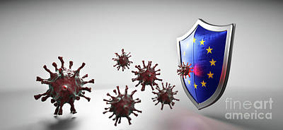 Have A Cupcake - Shield in EU European Union flag protect from coronavirus COVID-19. by Michal Bednarek