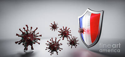 Have A Cupcake - Shield in France flag protect from coronavirus COVID-19. by Michal Bednarek