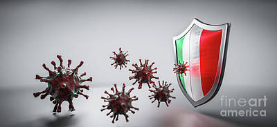 Have A Cupcake - Shield in Italy flag protect from coronavirus COVID-19. by Michal Bednarek