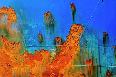 Photograph - Ship's hull in blue and rust brown by Frans Blok
