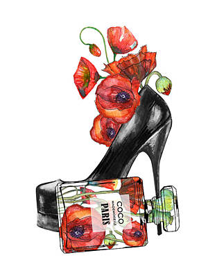 Farm Life Paintings Rob Moline Royalty Free Images - Shoe and perfum bottle with poppies Royalty-Free Image by Mihaela Pater