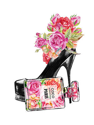 Rowing - Shoe and perfume bottle with roses by Mihaela Pater