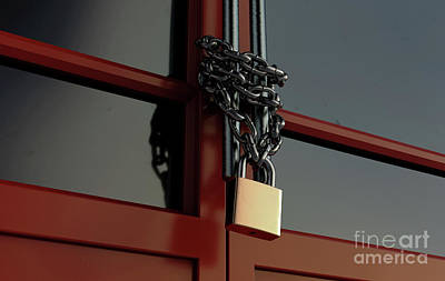 Royalty-Free and Rights-Managed Images - Shop Door Chained Lockdown by Allan Swart